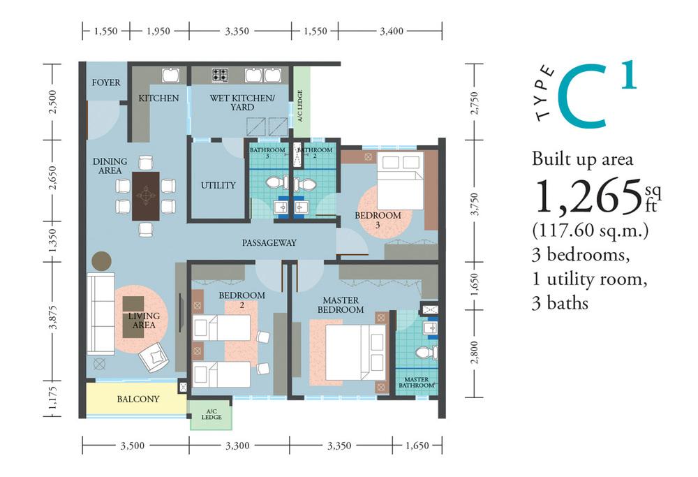LakePark Residence @ KL North Type C1 Floor Plan
