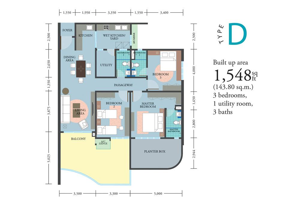 LakePark Residence @ KL North Type D Floor Plan