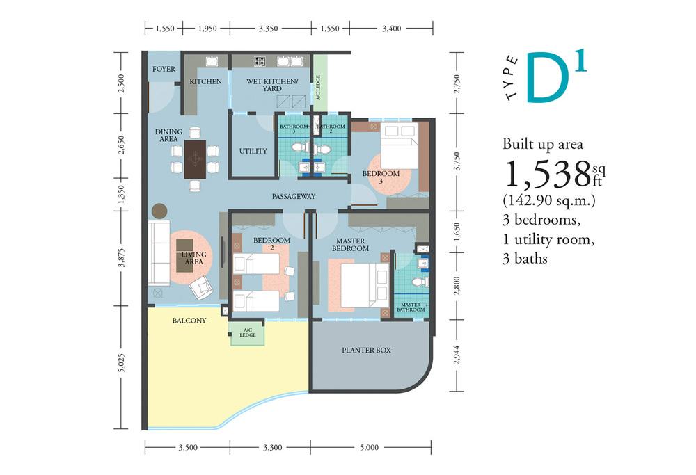 LakePark Residence @ KL North Type D1 Floor Plan