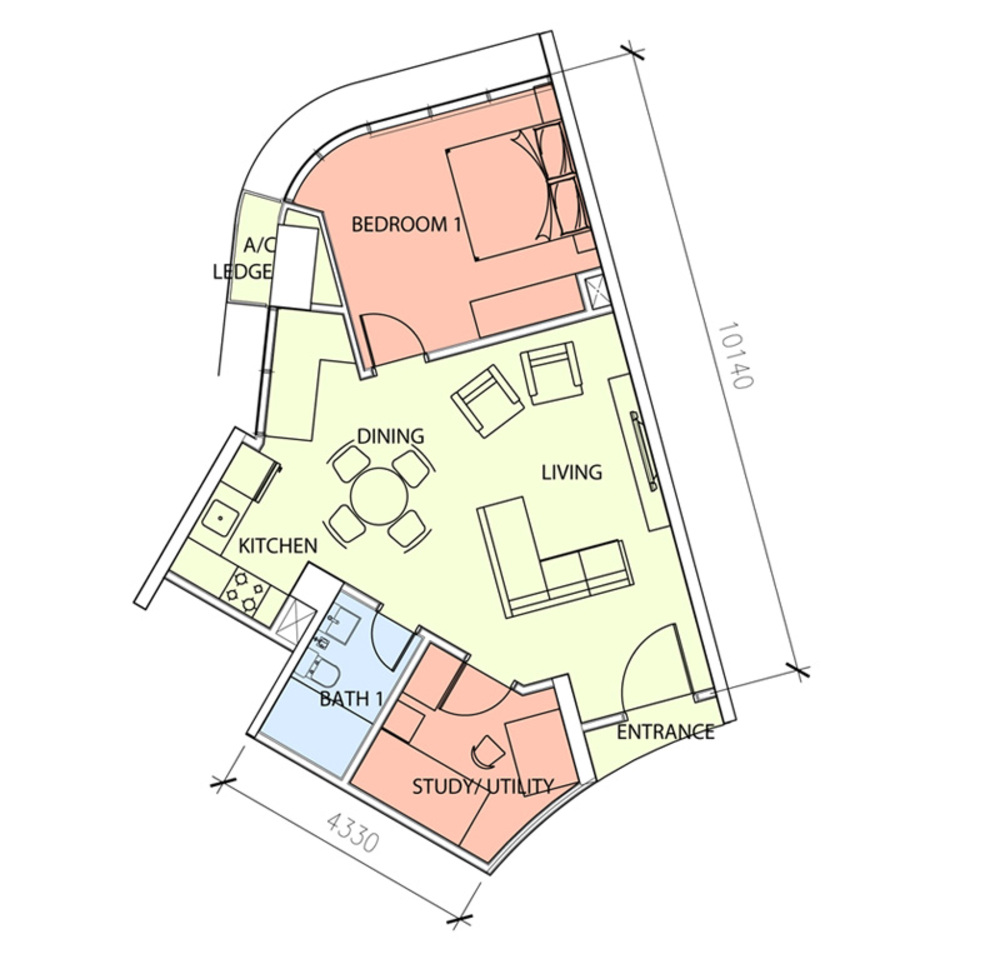 Green Beverly Hills Sky Bungalow - Type A1 Floor Plan