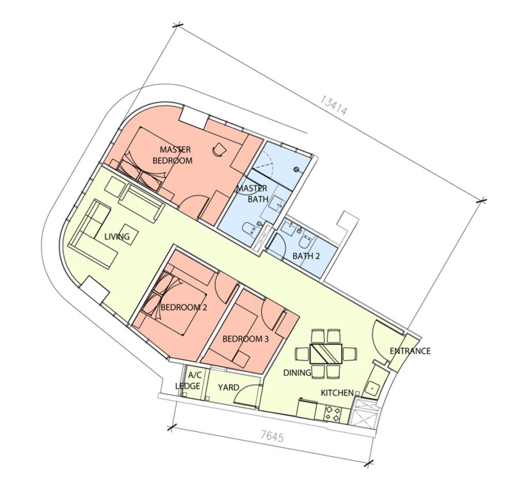 Green Beverly Hills Sky Bungalow - Type A2 Floor Plan