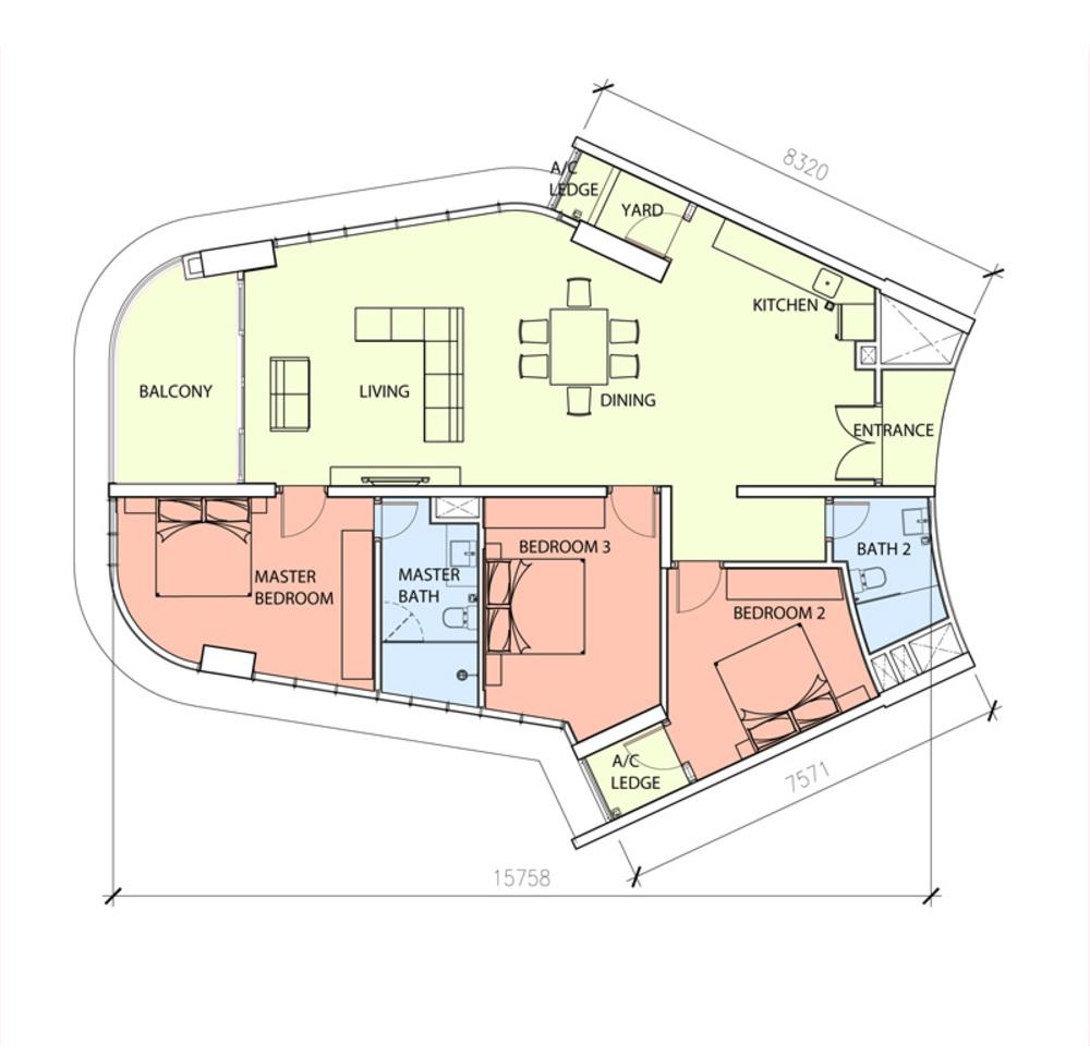 Green Beverly Hills Sky Bungalow - Type B Floor Plan