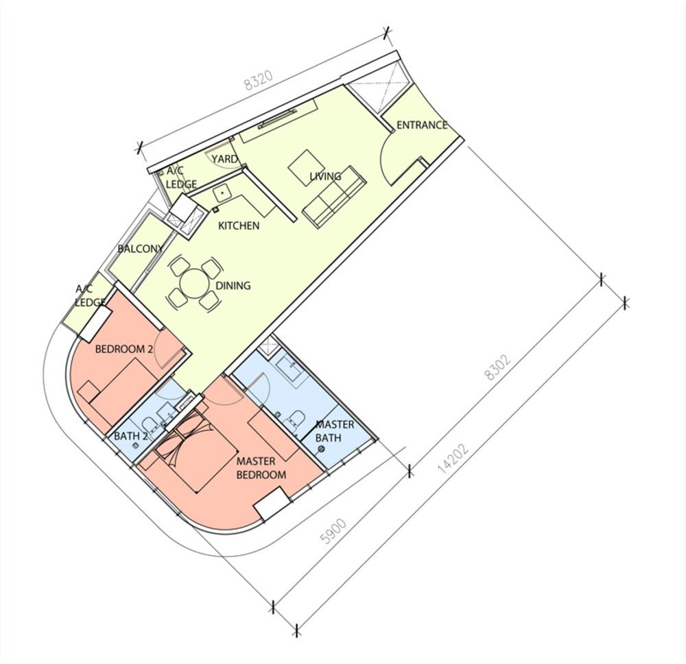 Green Beverly Hills Sky Bungalow - Type C Floor Plan