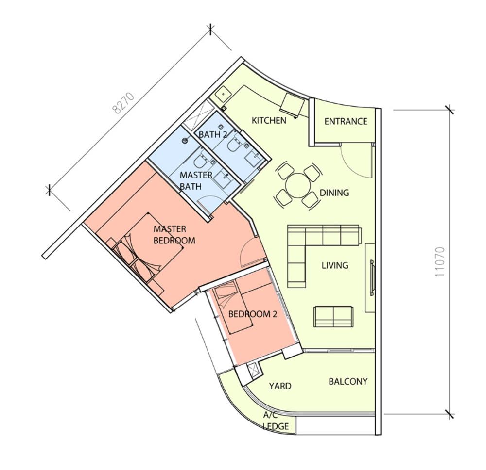 Green Beverly Hills Sky Bungalow - Type D Floor Plan