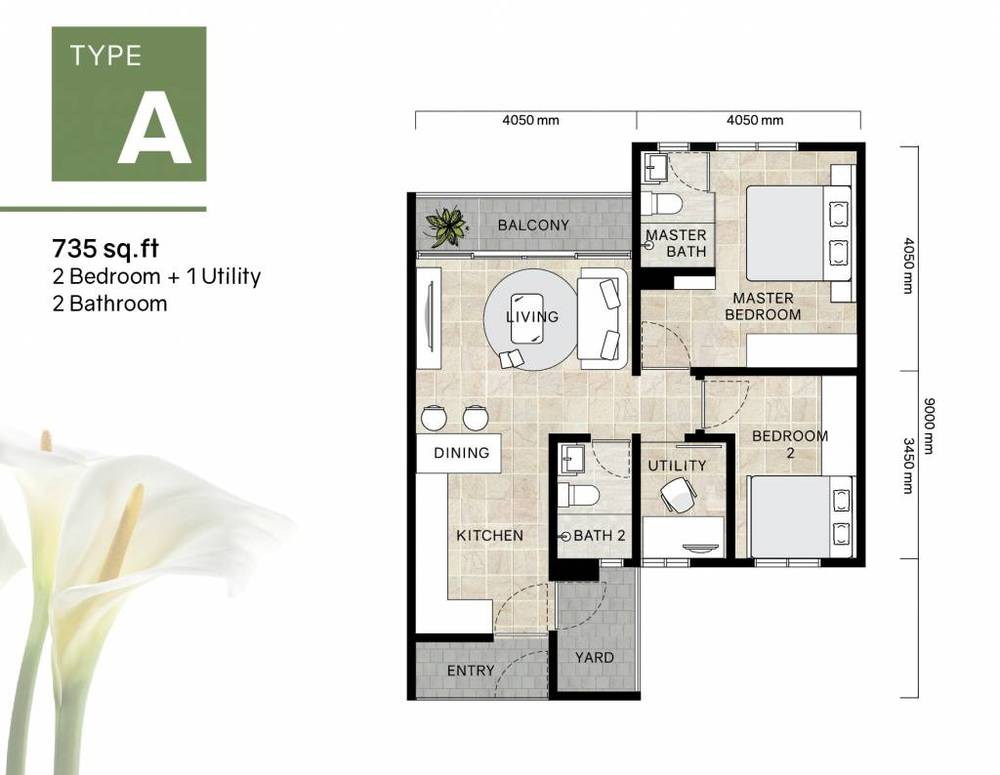 Green Beverly Hills Residensi Lili - Type A Floor Plan