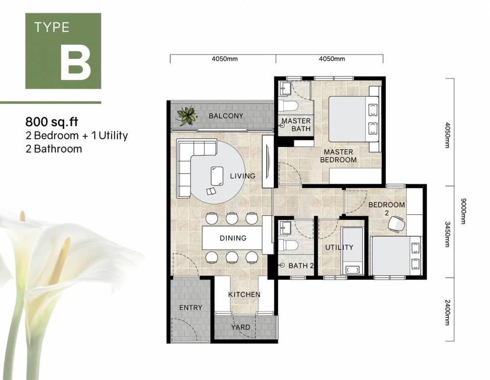 Green Beverly Hills Residensi Lili - Type B Floor Plan