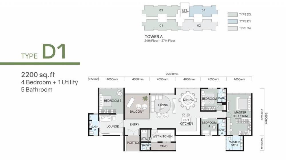 Green Beverly Hills Residensi Lili - Type D1 Floor Plan