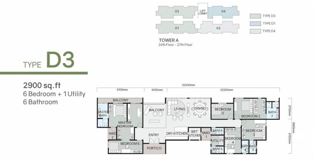 Green Beverly Hills Residensi Lili - Type D3 Floor Plan