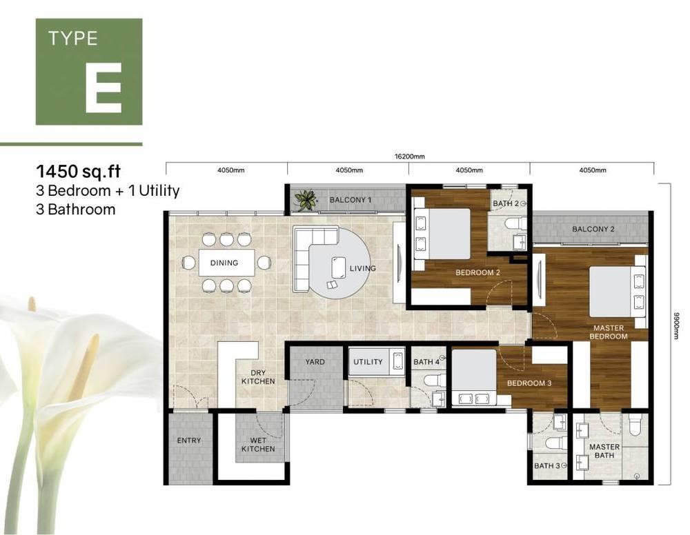 Green Beverly Hills Residensi Lili - Type E Floor Plan