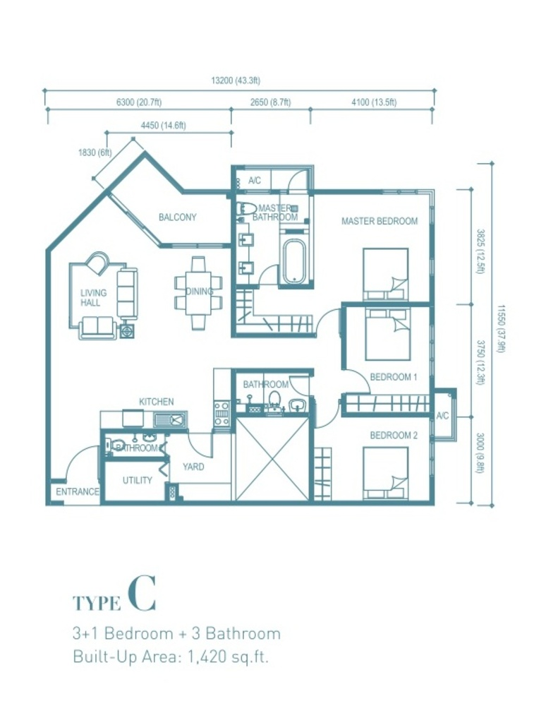 Trinity Aquata Type C Floor Plan