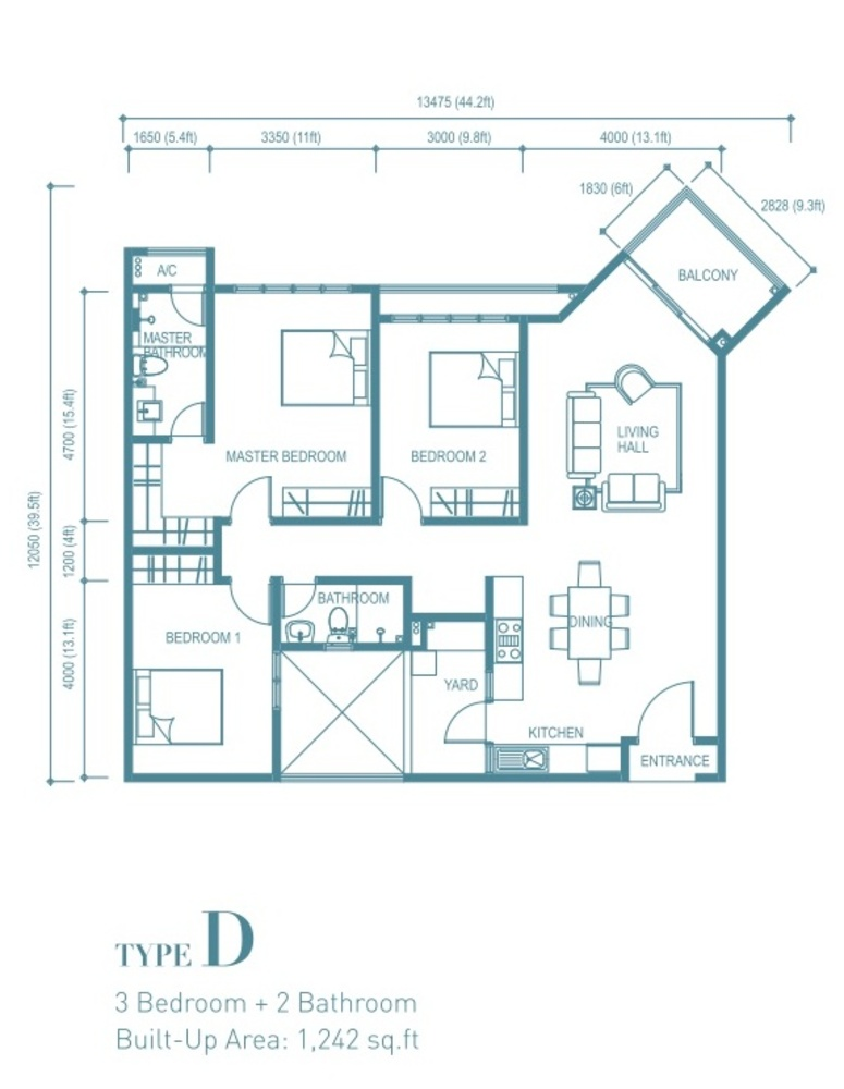 Trinity Aquata Type D Floor Plan