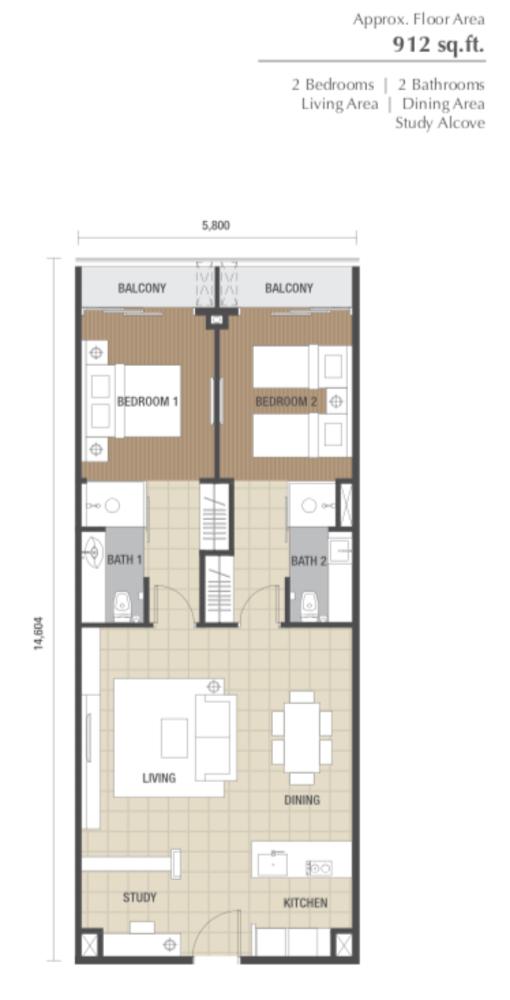 Dorsett Residences Type B Floor Plan