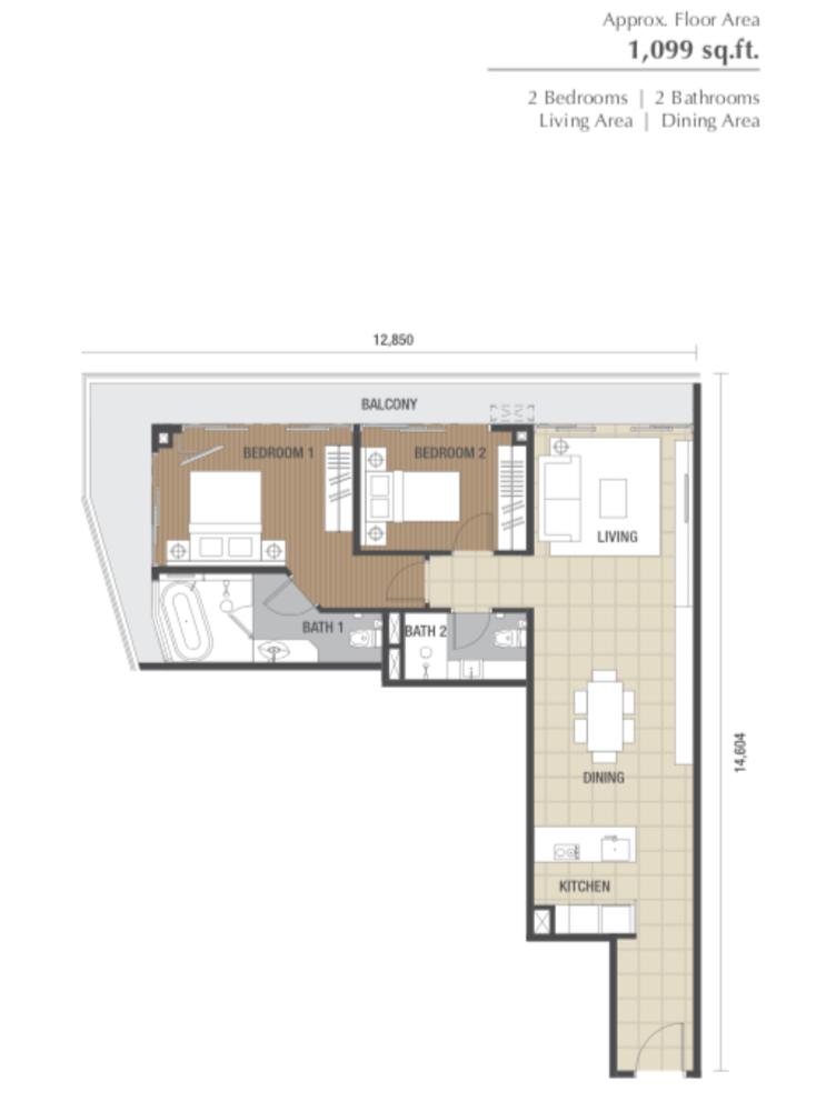 Dorsett Residences Type F Floor Plan