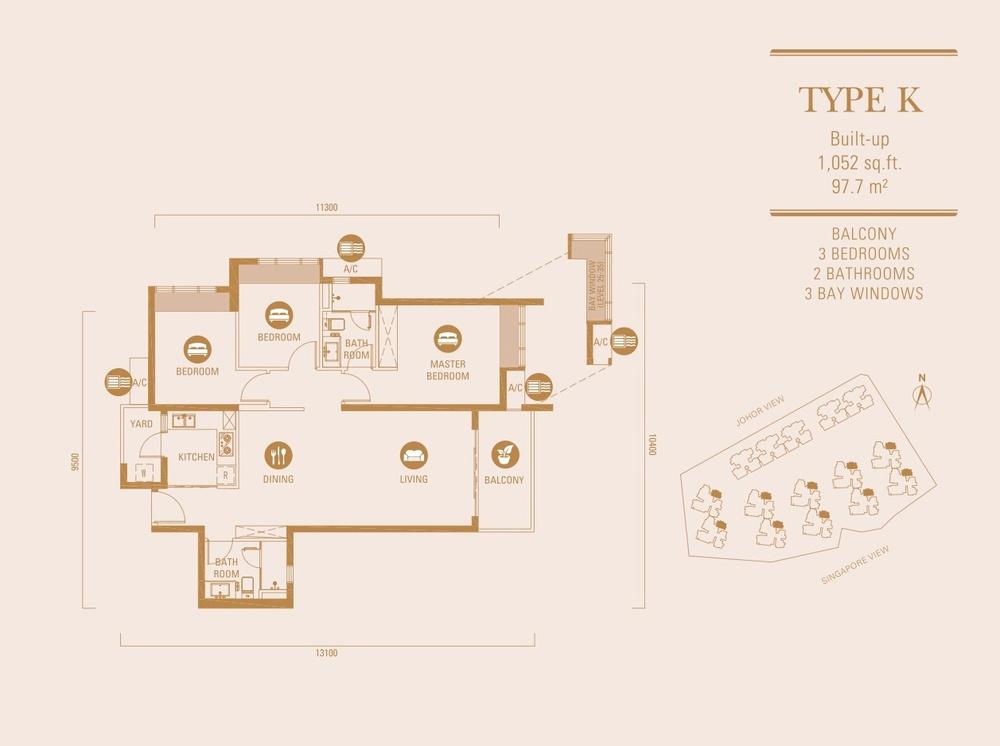 R&F Princess Cove Type K Floor Plan
