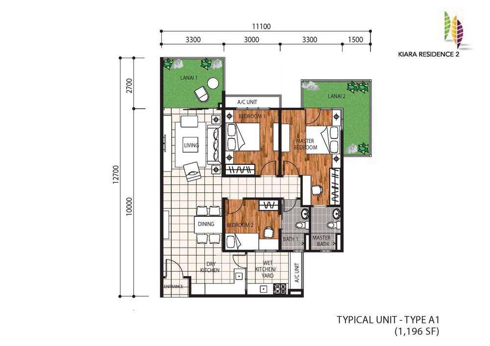 Kiara Residence 2 Type A1 Floor Plan