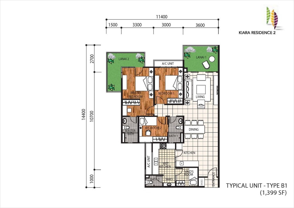 Kiara Residence 2 Type B1 Floor Plan