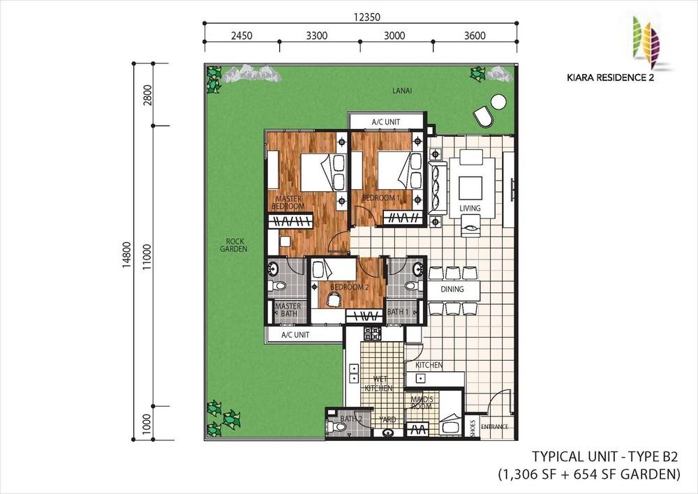 Kiara Residence 2 Type B2 Floor Plan