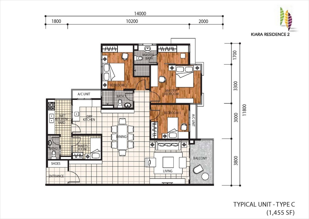 Kiara Residence 2 Type C Floor Plan