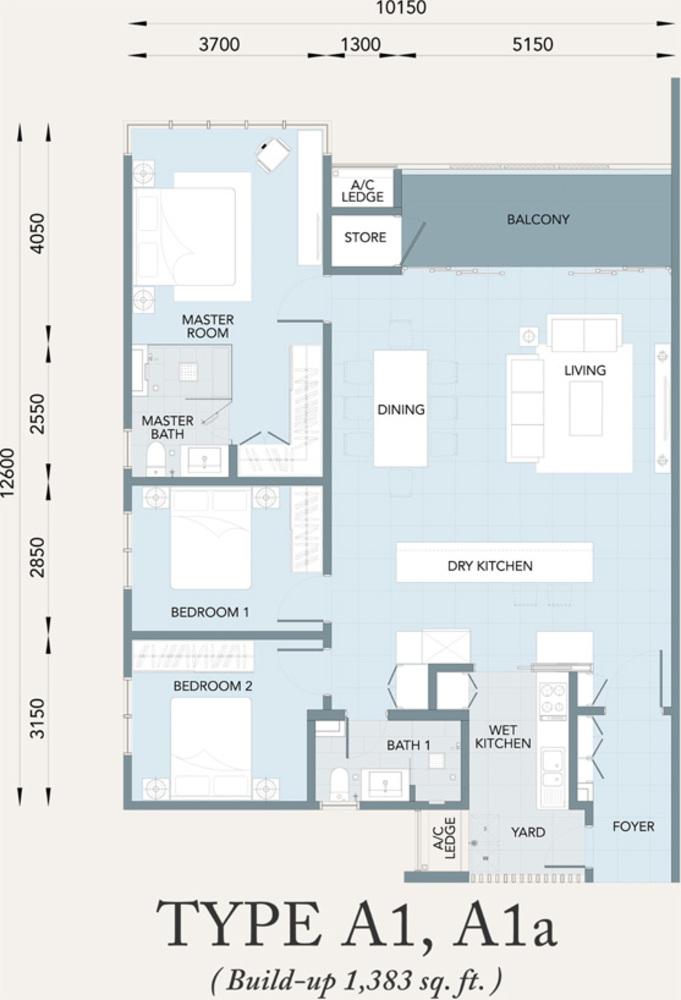 Verde Type A1, A1a Floor Plan