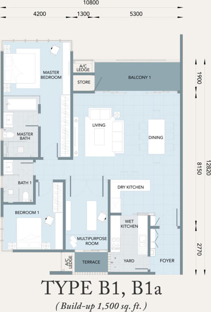 Verde Type B1, B1a Floor Plan
