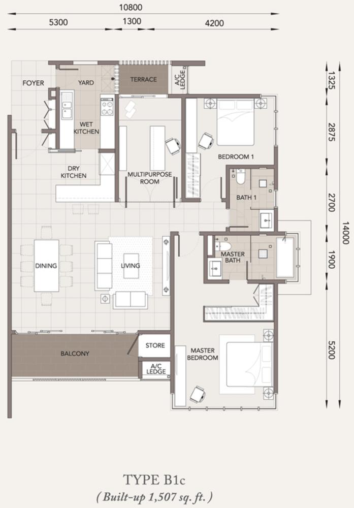 Verde Type B1c Floor Plan