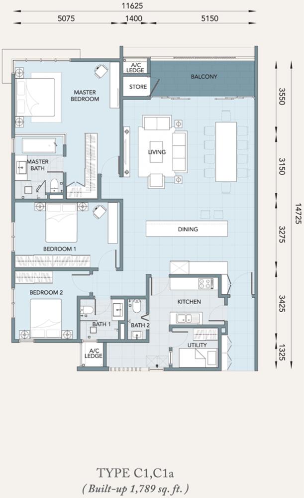 Verde Type C1, C1a Floor Plan