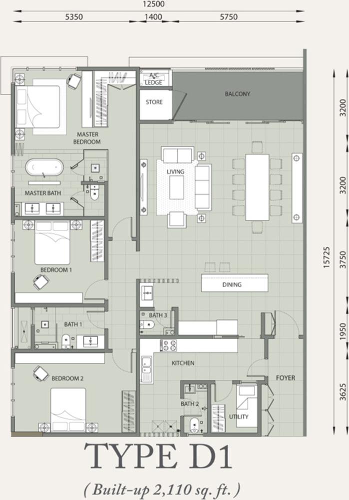 Verde Type D1 Floor Plan