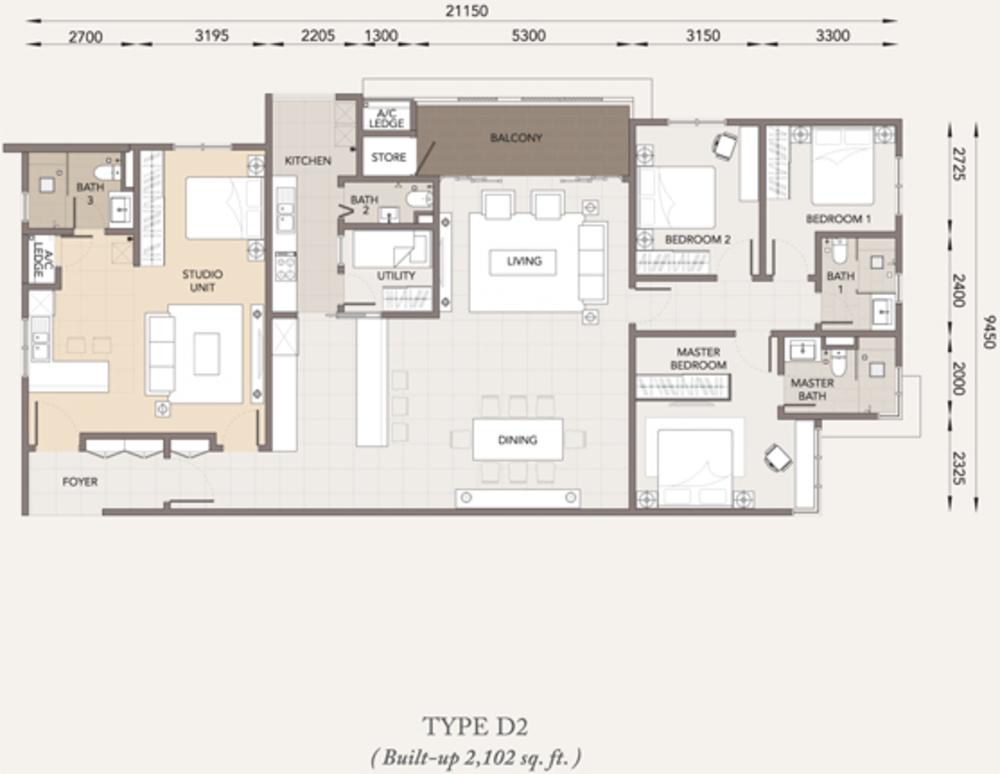 Verde Type D2 Floor Plan