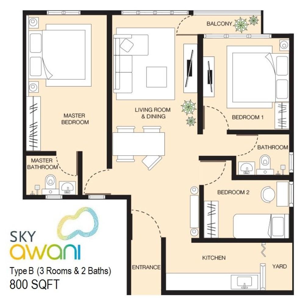 SkyAwani Type B Floor Plan
