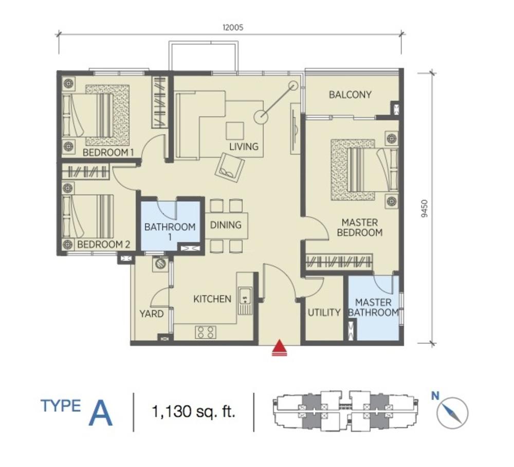 Saville @ Cheras Type A Floor Plan