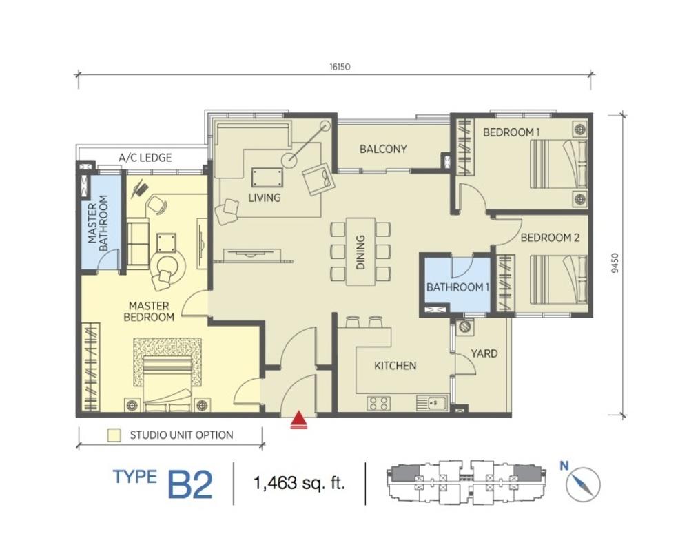 Saville @ Cheras Type B2 Floor Plan
