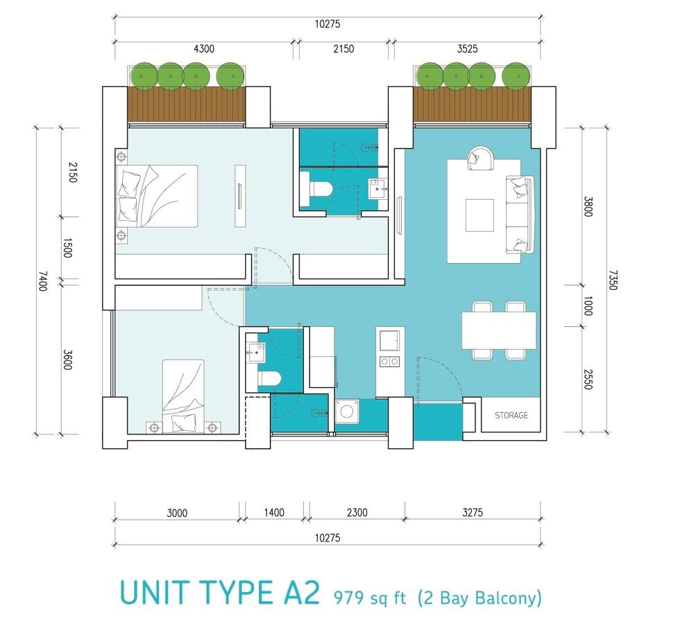 Lumi Tropicana Type A2 Floor Plan