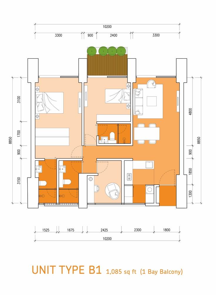 Lumi Tropicana Type B1 Floor Plan