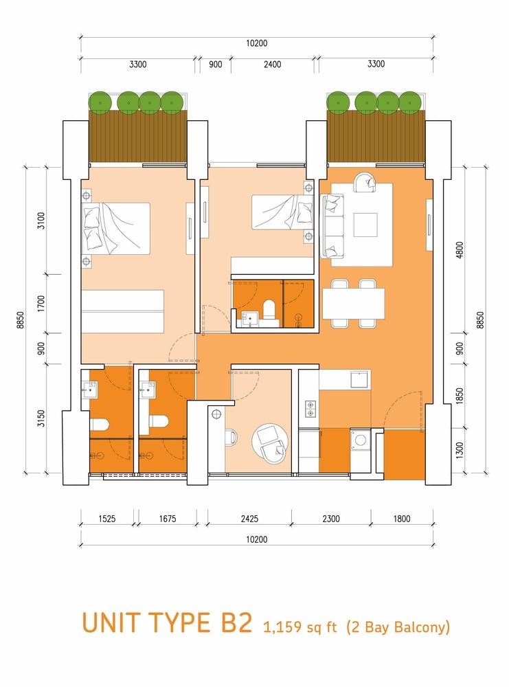 Lumi Tropicana Type B2 Floor Plan