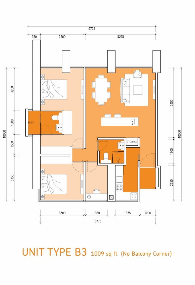 Lumi Tropicana Type B3 Floor Plan