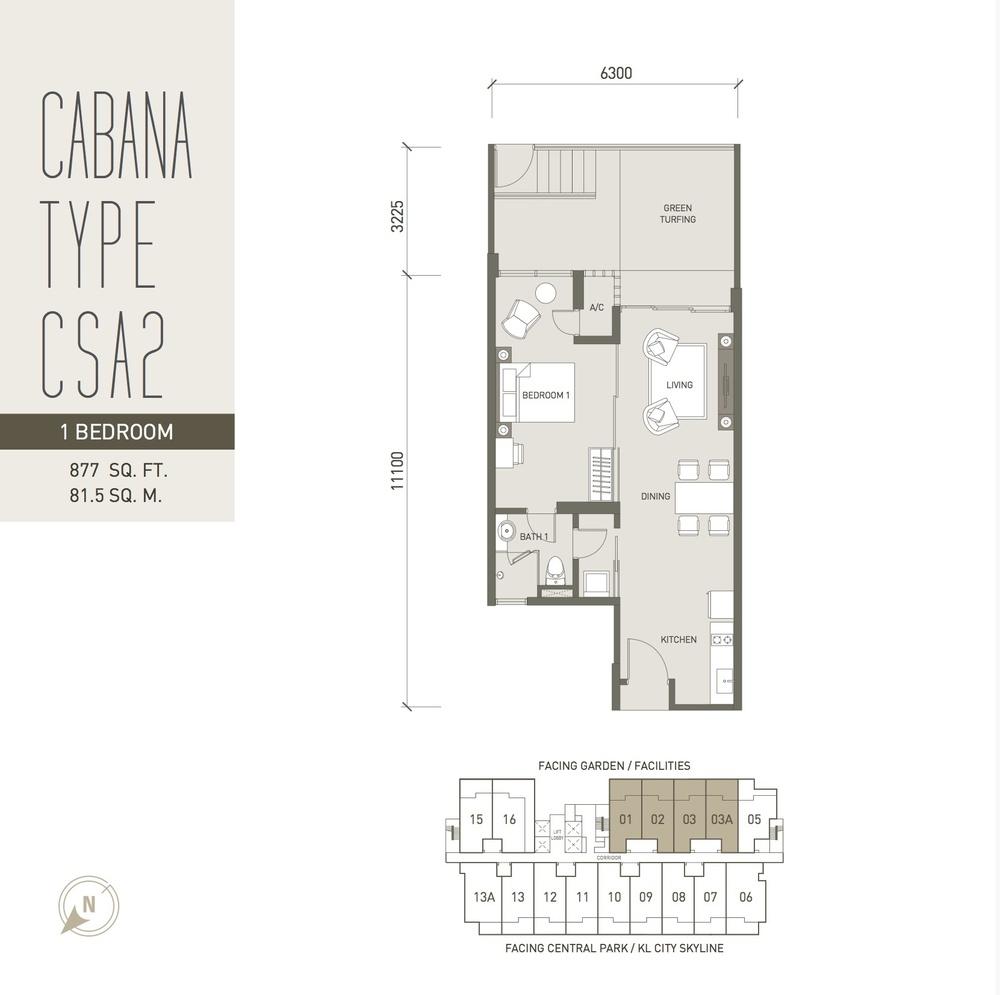 V Residence Suites @ Sunway Velocity Cabana Type CSA2 Floor Plan