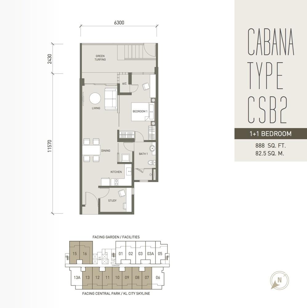 V Residence Suites @ Sunway Velocity Cabana Type CSB2 Floor Plan
