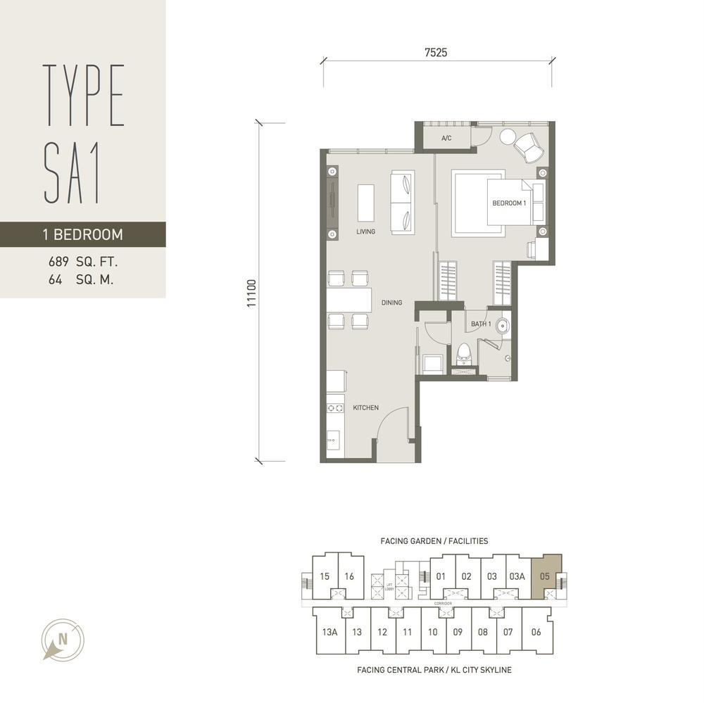V Residence Suites @ Sunway Velocity Type SA1 Floor Plan