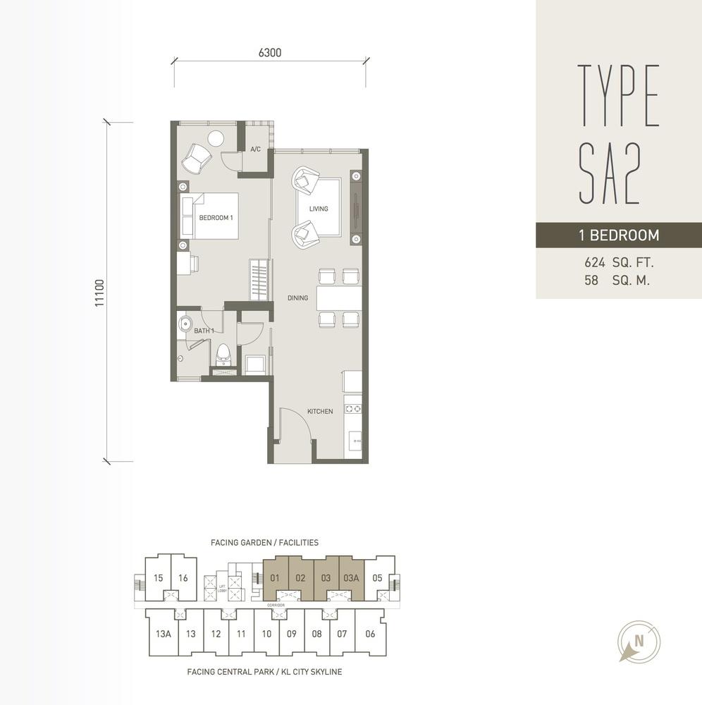 V Residence Suites @ Sunway Velocity Type SA2 Floor Plan
