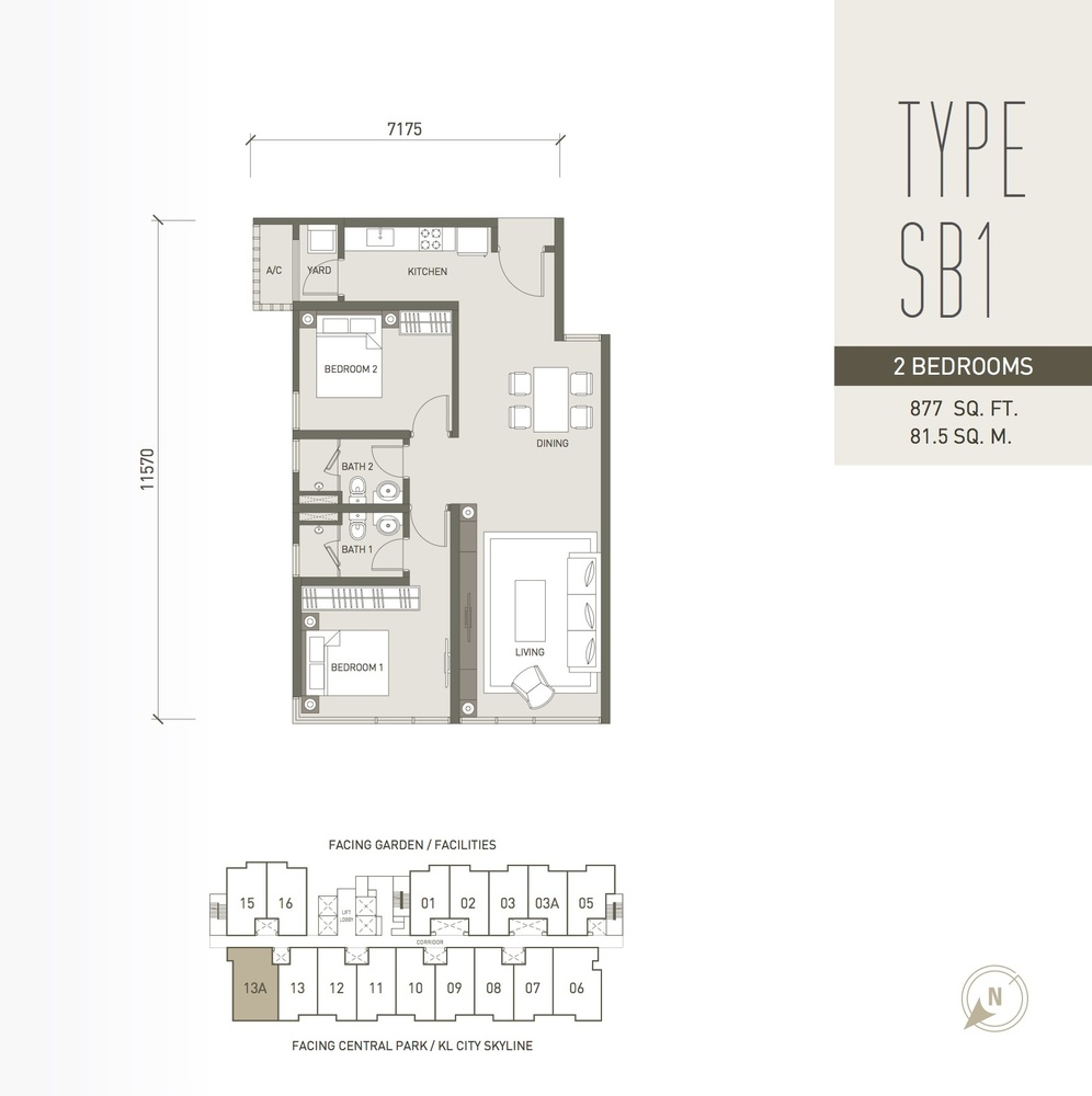 V Residence Suites @ Sunway Velocity Type SB1 Floor Plan