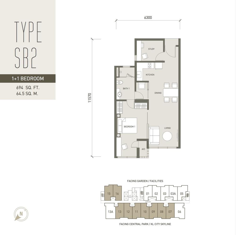 V Residence Suites @ Sunway Velocity Type SB2 Floor Plan