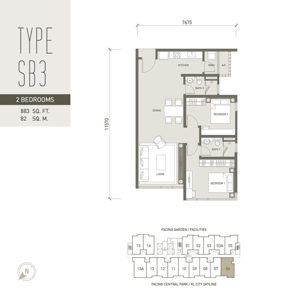 V Residence Suites @ Sunway Velocity Type SB3 Floor Plan