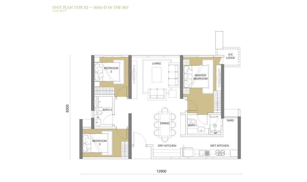 The Park Sky Residence @ Bukit Jalil City Type B2 Floor Plan