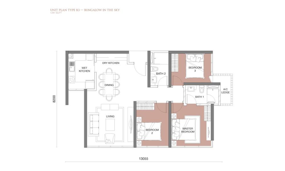 The Park Sky Residence @ Bukit Jalil City Type B3 Floor Plan