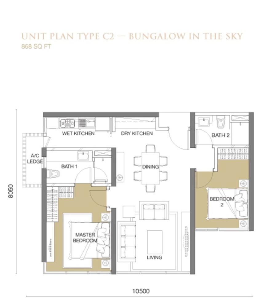 The Park Sky Residence @ Bukit Jalil City Type C2 Floor Plan