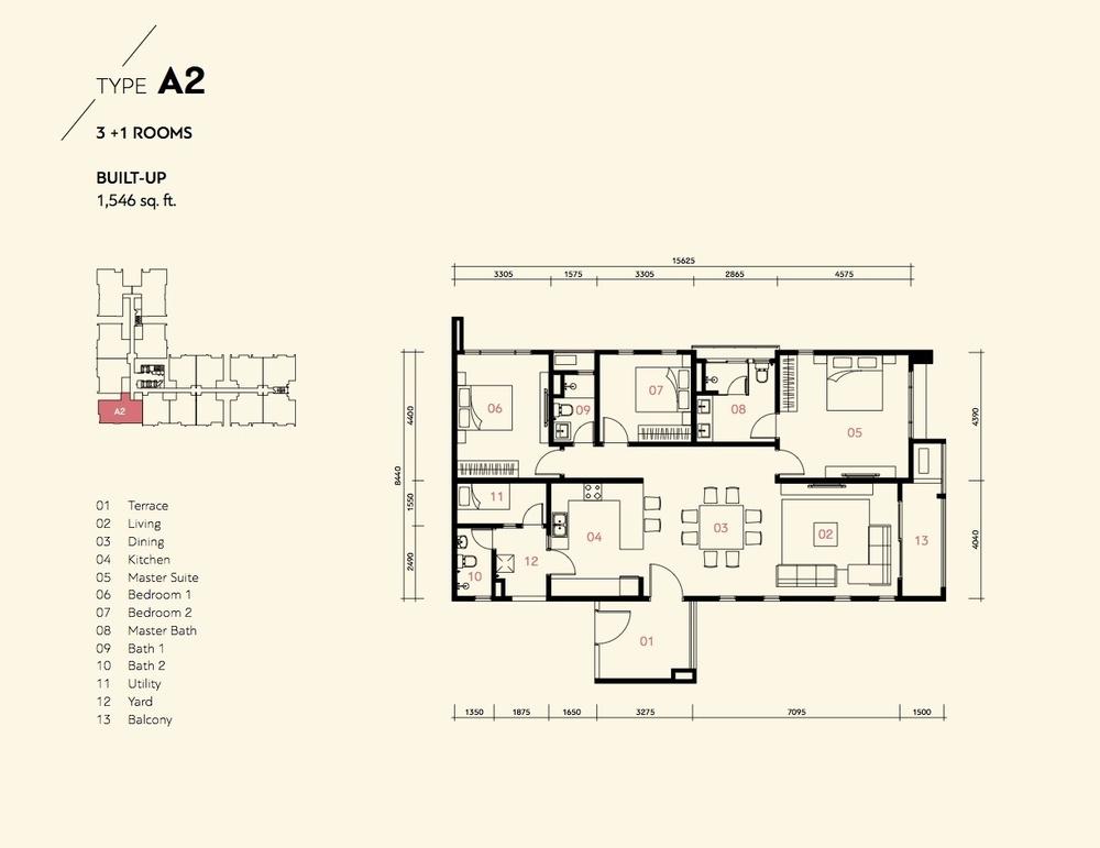 Residensi Harmoni 2 @ Bukit Prima Pelangi Type A2 (Block A) Floor Plan