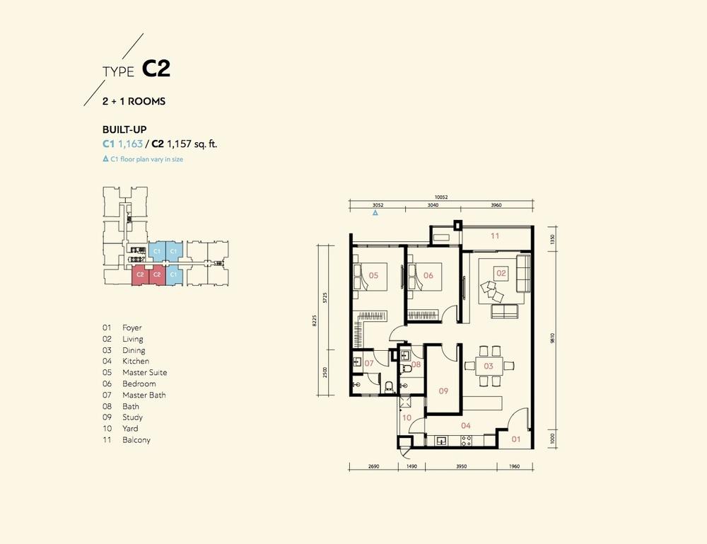 Residensi Harmoni 2 @ Bukit Prima Pelangi Type C1 & C2 (Block A) Floor Plan