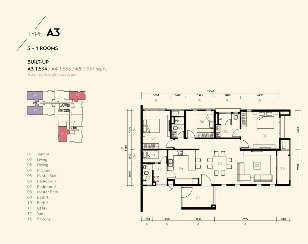 Residensi Harmoni 2 @ Bukit Prima Pelangi Type A3, A4 & A5 (Block B) Floor Plan