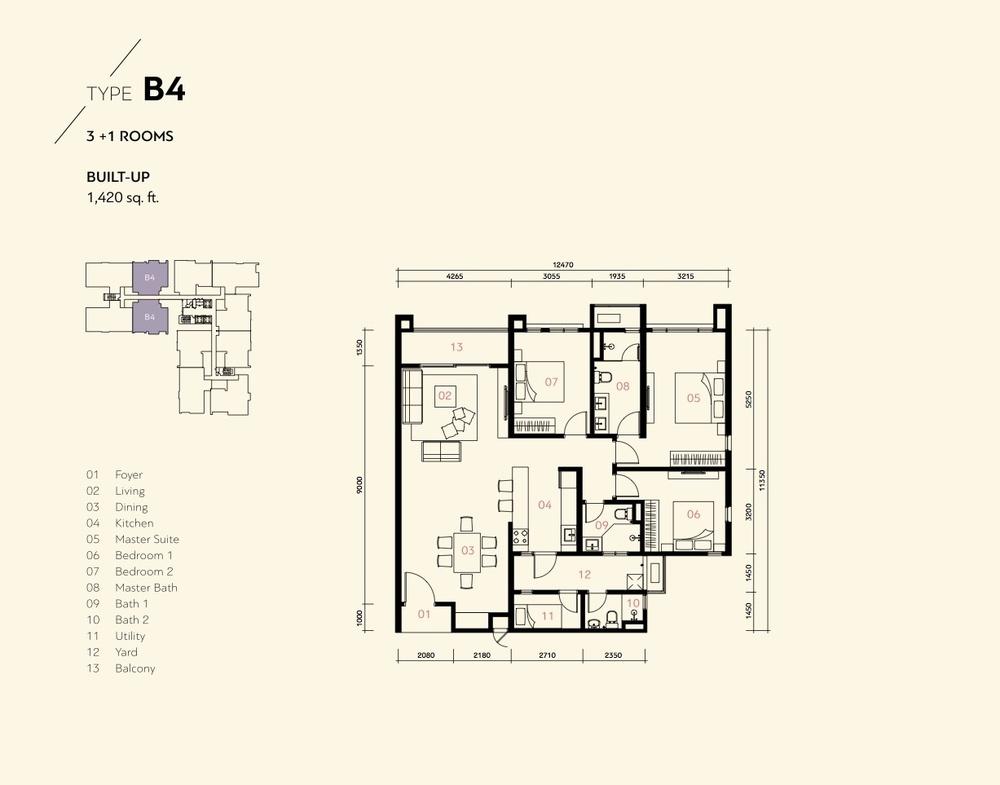 Residensi Harmoni 2 @ Bukit Prima Pelangi Type B4 (Block B) Floor Plan