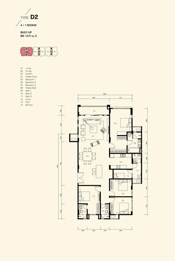 Residensi Harmoni 2 @ Bukit Prima Pelangi Type D2 (Block C) Floor Plan
